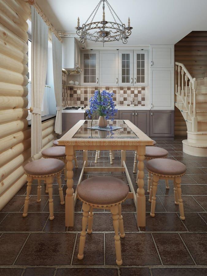 Tavolo da pranzo e sedie dalla finestra all'interno di un ceppo s illustrazione vettoriale