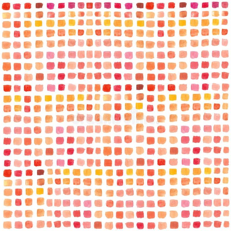 Tavolozza dell'acquerello con i rettangoli colorati Fondo dipinto a mano astratto multicolore Metta dei colpi della spazzola su L royalty illustrazione gratis