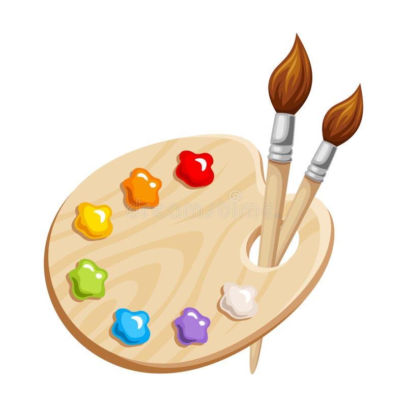Tavolozza di arte con le pitture e le spazzole Illustrazione di vettore illustrazione vettoriale