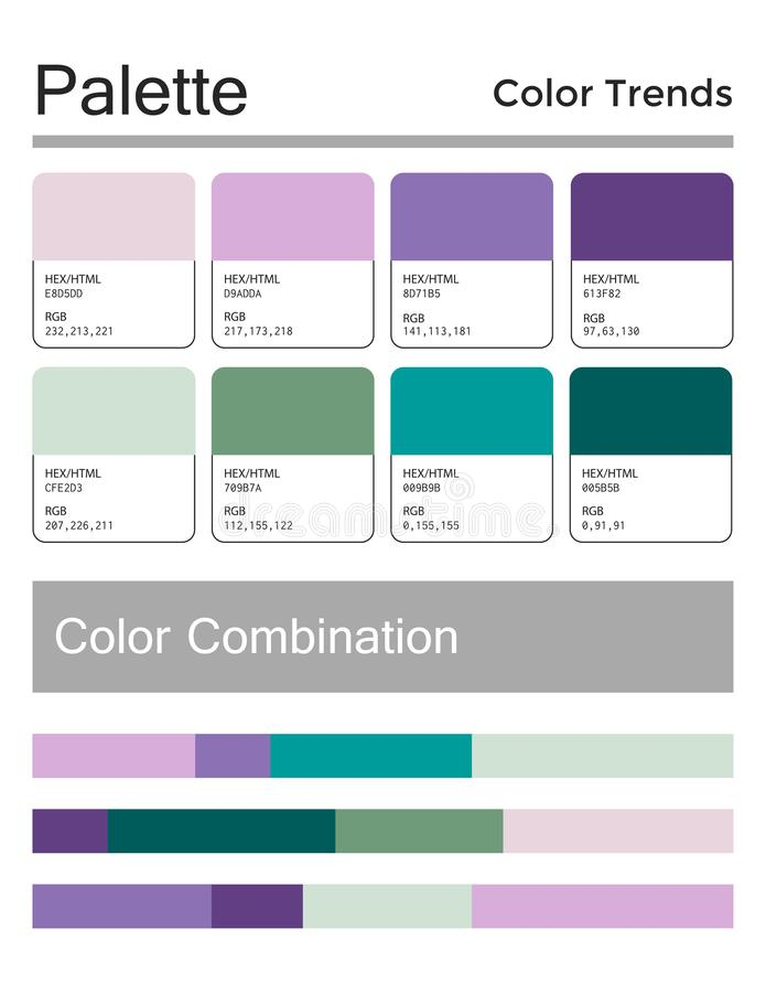 Tavolozza di colore, combinazione armoniosa, codici e nomi Colori di modo per utilizzare nel web, nei vestiti, negli interni e ne royalty illustrazione gratis