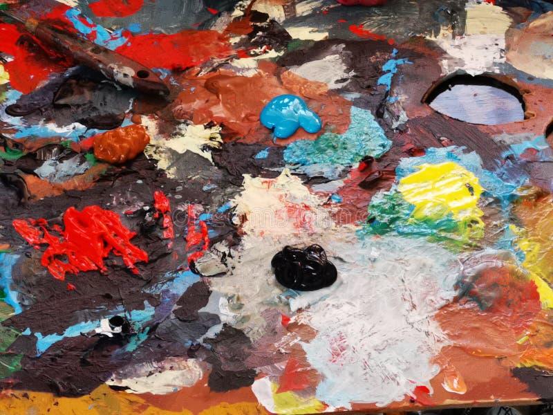 Tavolozza di colore del pittore fotografia stock