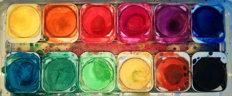 Tavolozza di colore dell'acqua fotografie stock libere da diritti