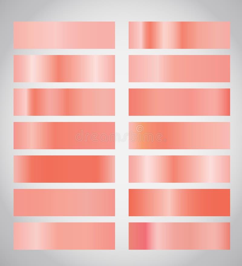 Tavolozza di corallo di pendenze di colore gradazione di colore Corallo del campione, rosa, colori della pesca royalty illustrazione gratis