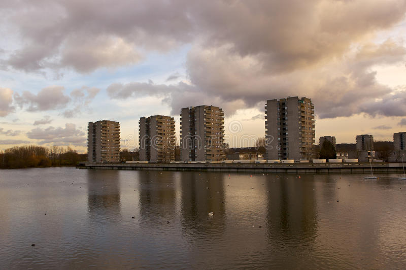 Council Housing, Southmere Lake, Thamesmead, UK stock photos