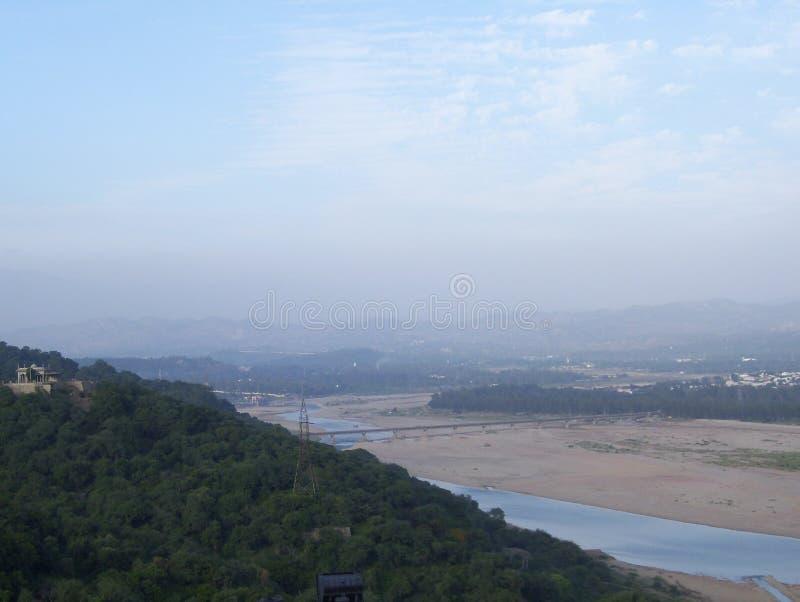 Tawi River, Jammu, India. Tawi River landscape view, Jammu, India royalty free stock photos