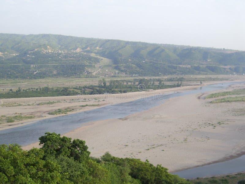 Tawi River, Jammu, India. Tawi River landscape view, Jammu, India royalty free stock image