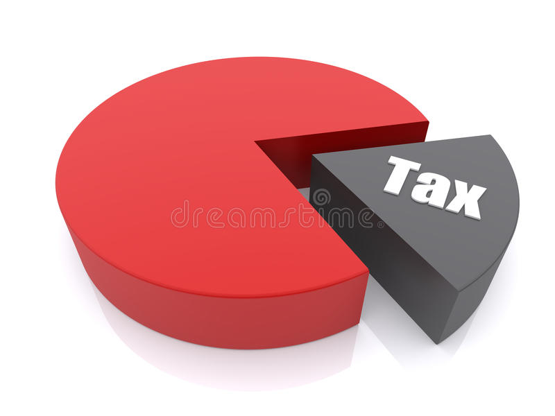 Tax. Pie chart. 3d rendered illustration royalty free illustration