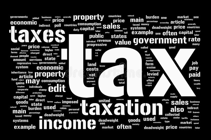 Tax background. Black and white background with taxes and taxation themed word cloud