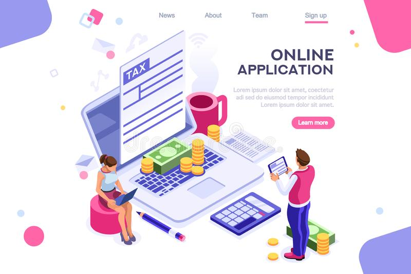 Tax Bills Form Landing Page. Work bills, coin site, money on blank webpage. Form, landing page concept for infographics, hero images. Flat isometric vector royalty free illustration