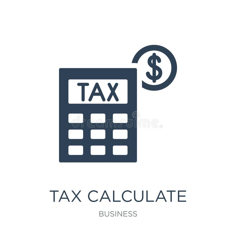 tax calculate icon in trendy design style. tax calculate icon isolated on white background. tax calculate vector icon simple and royalty free illustration