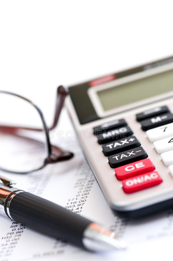 Download Tax Calculator Pen And Glasses Stock Photo - Image of figures, finance: 8076794
