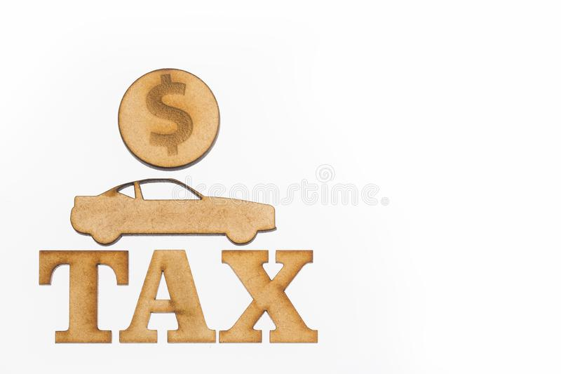 Tax car - car and coins. Top view royalty free stock images
