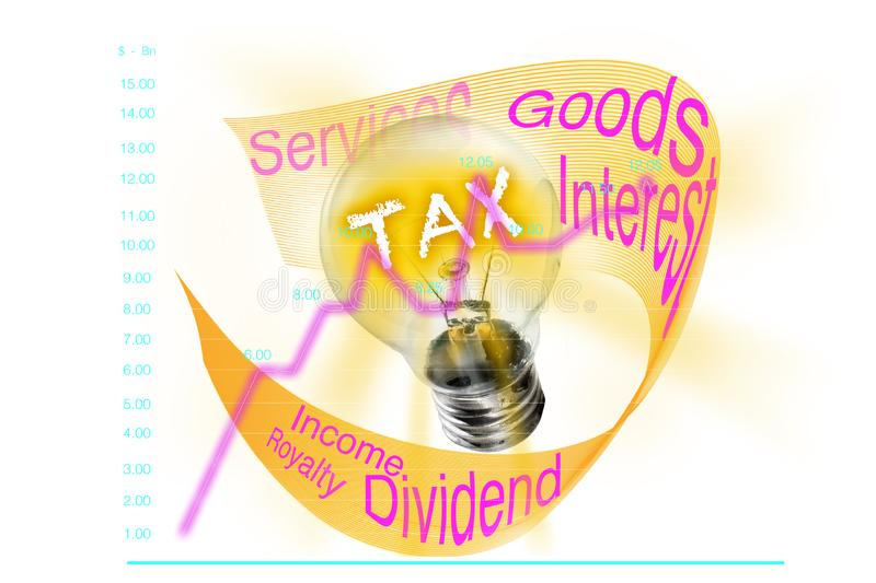 Tax. A line graph that shows the increase in taxable objects, depicted in a light bulb that seeps into various actions and events stock photo
