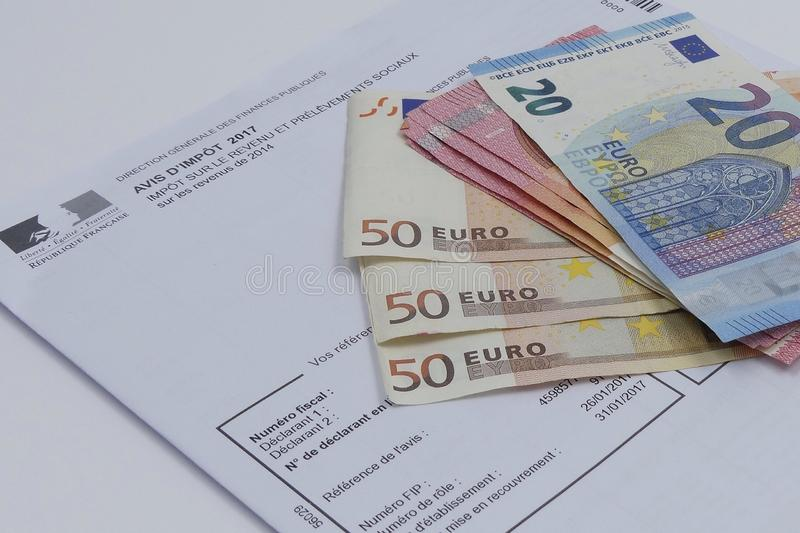 Tax concept with euros banknotes stock image