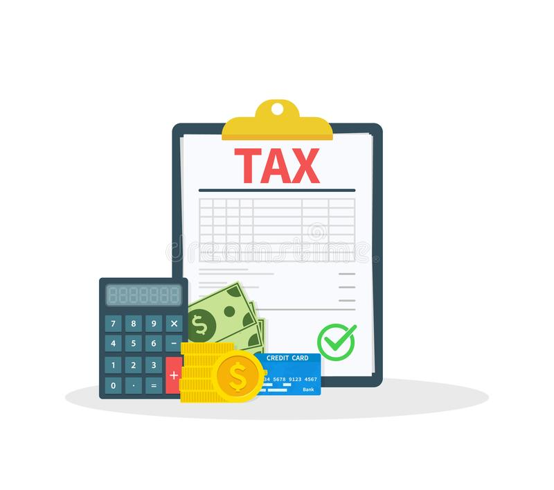 Tax. Concept tax payment. Data analysis, paperwork, financial research report and calculation of tax return. Payment of vector illustration