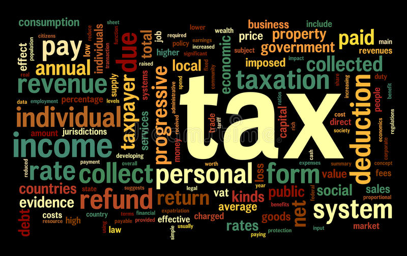 Tax concept in word tag cloud vector illustration