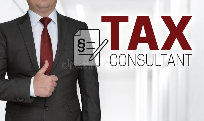 Tax consultant concept and businessman with thumbs up royalty free stock photo