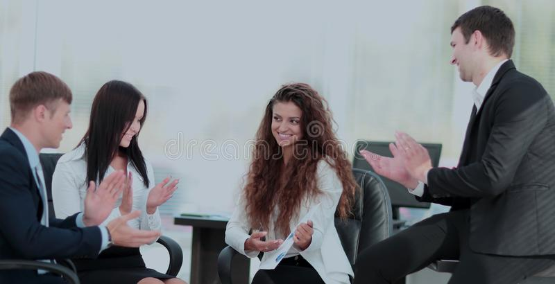 Tax consultant will present a new business plan for the company`. Professional tax consultant shows a new business plan to shareholders of the company at the royalty free stock image