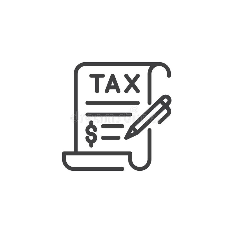 Tax contract signature outline icon. Linear style sign for mobile concept and web design. tax document and pen simple line vector icon. Symbol, logo royalty free illustration