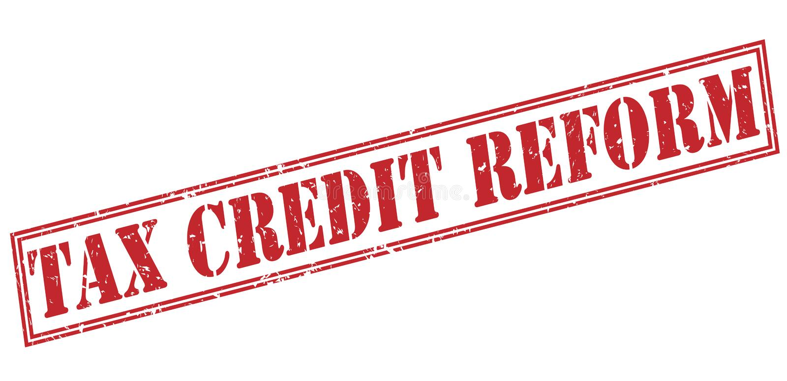 Tax credit reform red stamp royalty free illustration