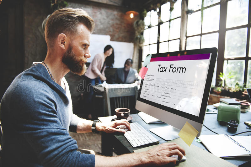 Tax Credits Claim Form Concept. Business People Tax Credits Claim Form stock images