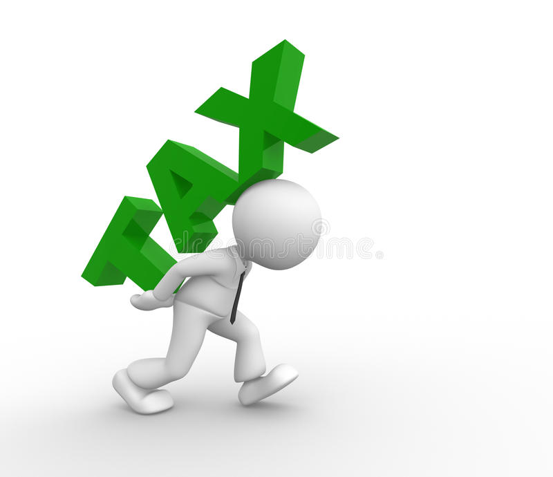 Tax. 3d people - man, person carrying word 'tax vector illustration