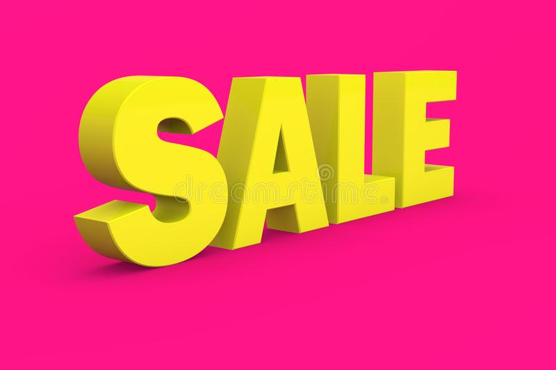 Tax 3D in yellow Color With pink Background, 3D Illustration stock photo