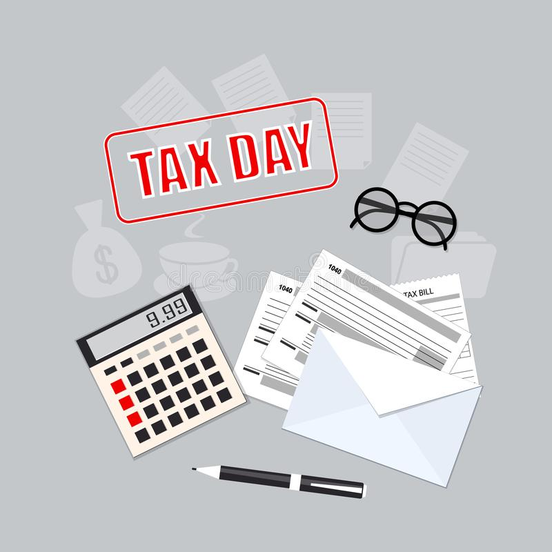 Tax day with calculator, envelope,  pen and glasses royalty free stock photos