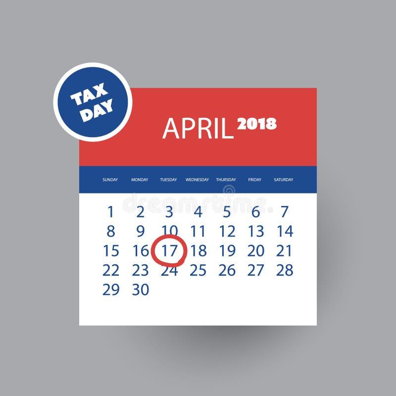 Tax Day Reminder Concept - Calendar Design Template - USA Tax ...