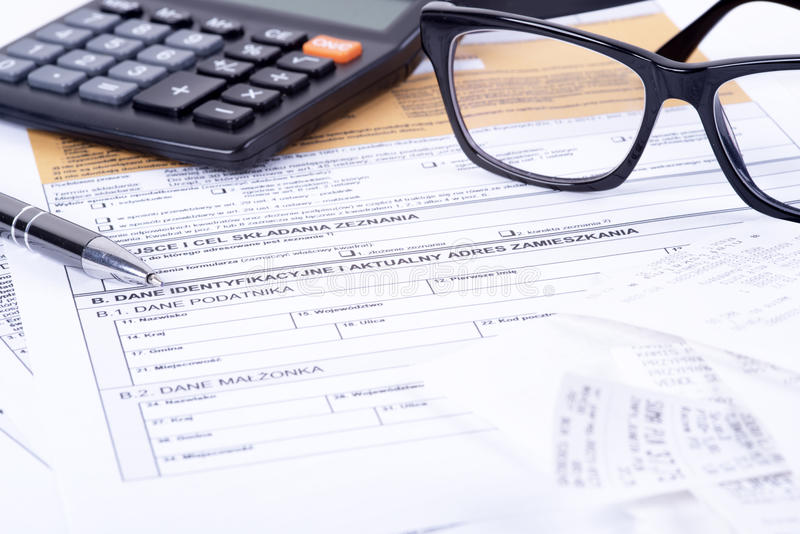 Tax declaration pit. A photo of statements of account pit in Poland royalty free stock photos