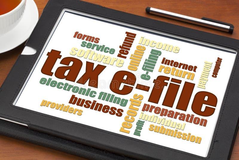 Tax e-file word cloud stock photo