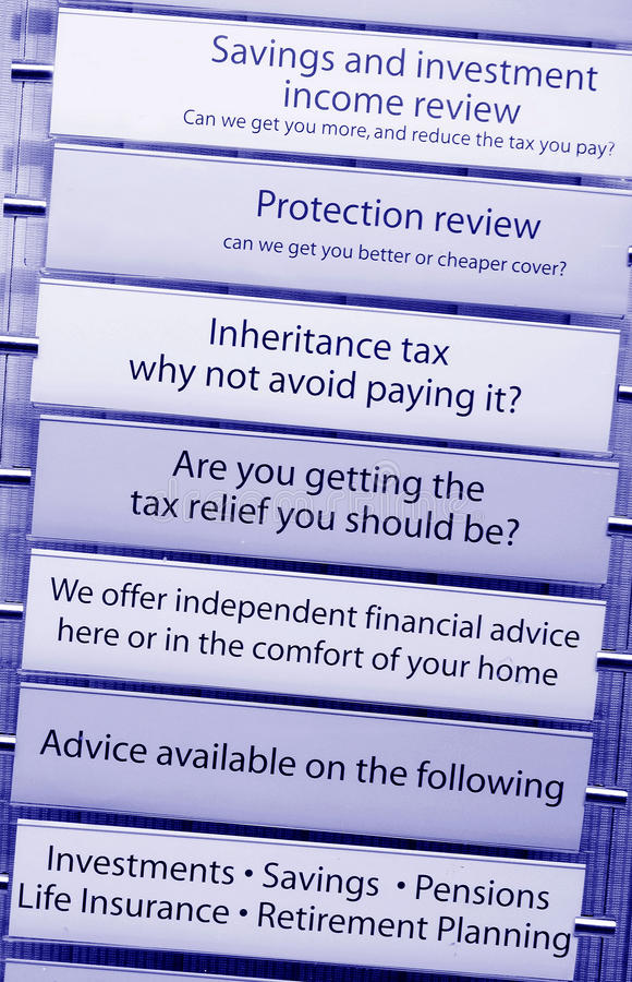 Tax financial advice. Financial tax and income counselling vertical banner royalty free stock photos