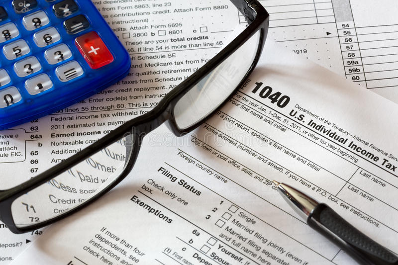 Tax form. 1040 tax form with pen stock image