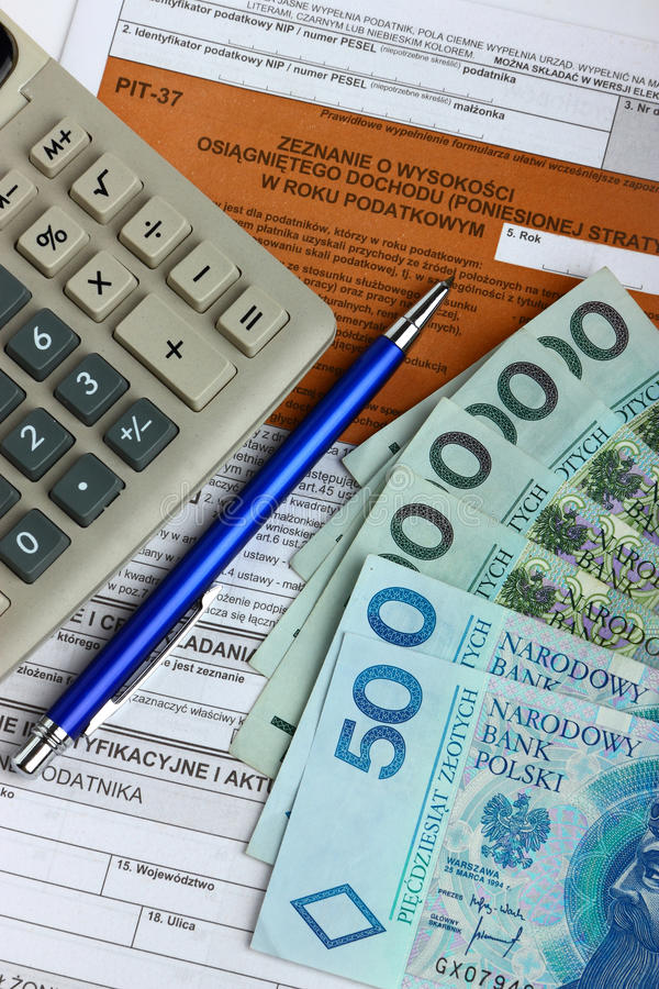 Download Tax Form With Calculator, Money And Pen Stock Image - Image: 24045433