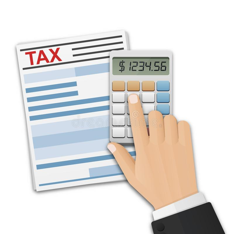 Tax form, and the man`s hand, count taxes on the calculator. Tax calculation, payment or return concept vector illustration