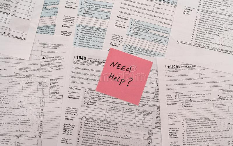 1040 tax form with text memo on it.  stock images
