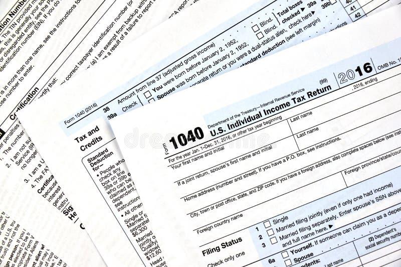 1040 tax form. 1040 U.S individual income tax return form stock image