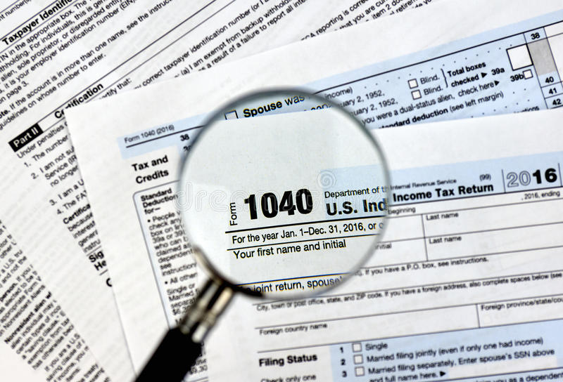 1040 tax form. 1040 U.S individual income tax return form stock photos