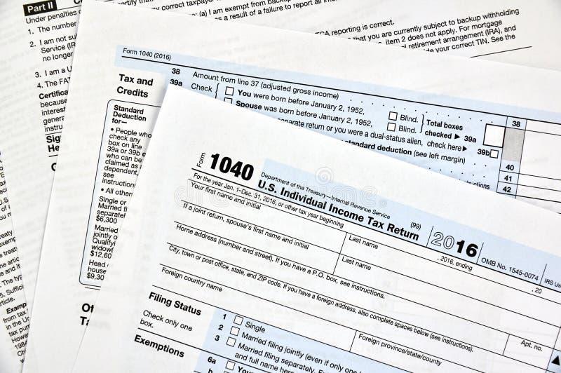1040 tax form. 1040 U.S individual income tax return form royalty free stock photos