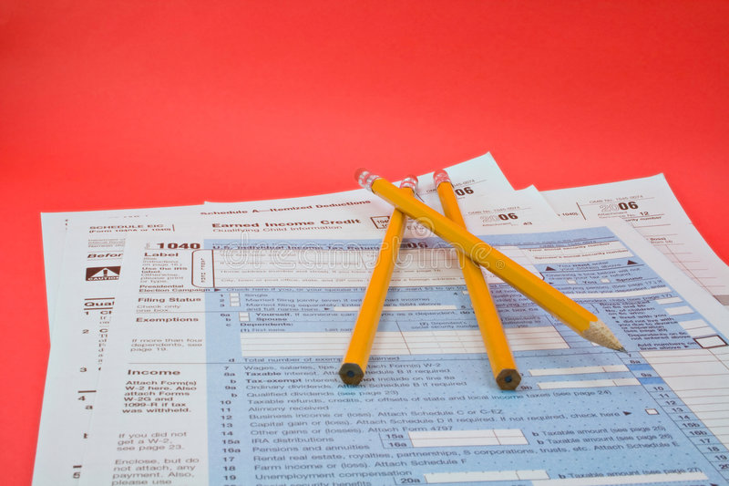Tax forms 1040 stock image