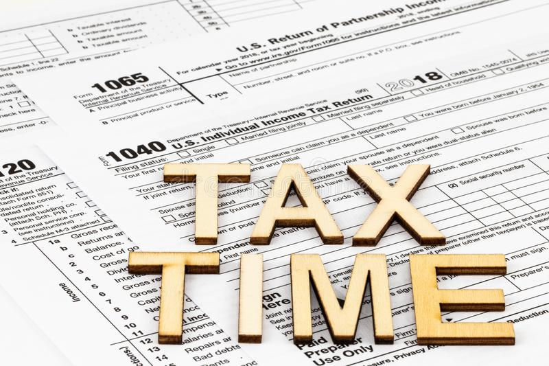The tax forms 1040,1120,1065. The Tax Day concept.  royalty free stock images