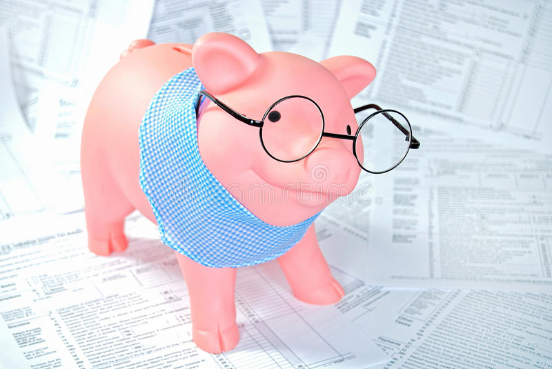 Download Tax forms with piggy bank stock image. Image of bank - 29096023