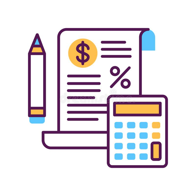 Tax government calculation vector color line icon. Report and financial statements. Bookkeeping and accounting. vector illustration
