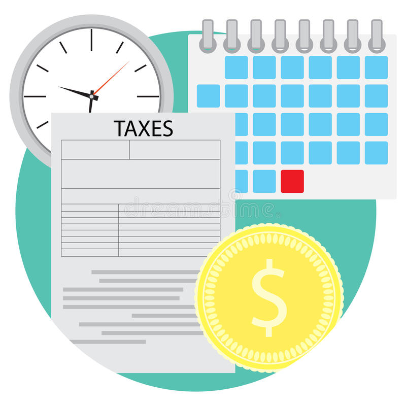 Tax icon flat. Business finance and financial audit document, vector illustration stock illustration