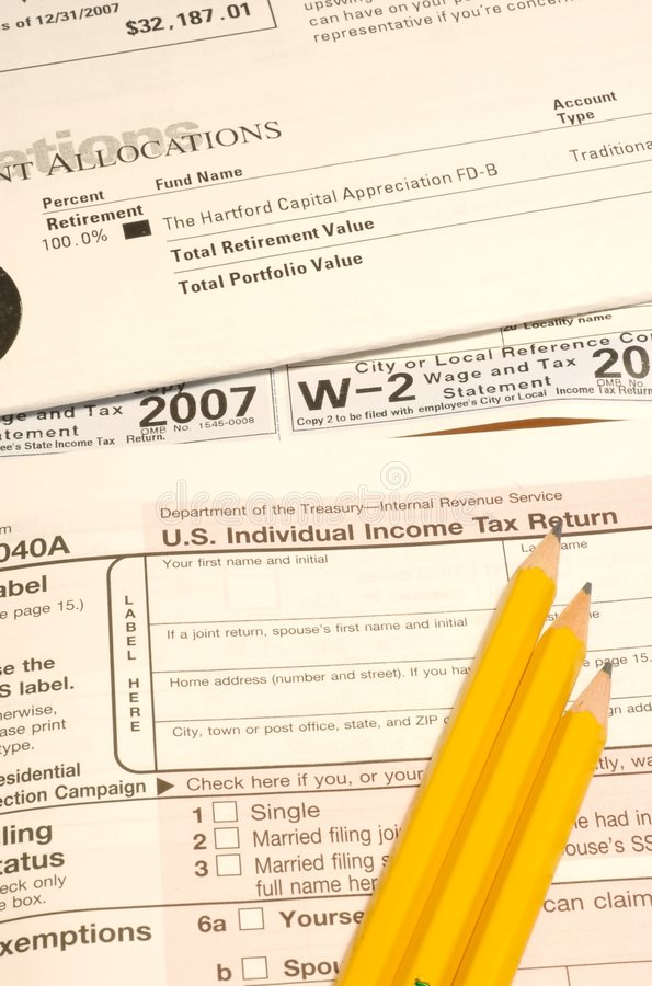 Tax items. Items needed for doing your taxes stock photo