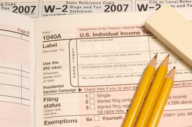 Tax items. Items needed for doing taxes stock photo