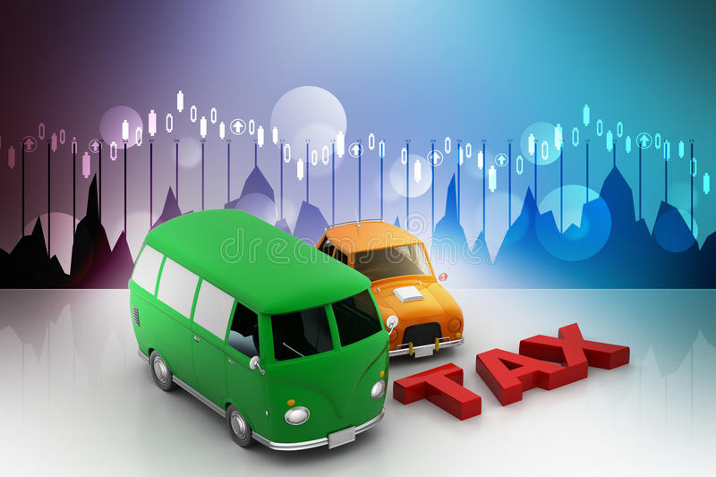Tax latter with vehicle. In color background vector illustration