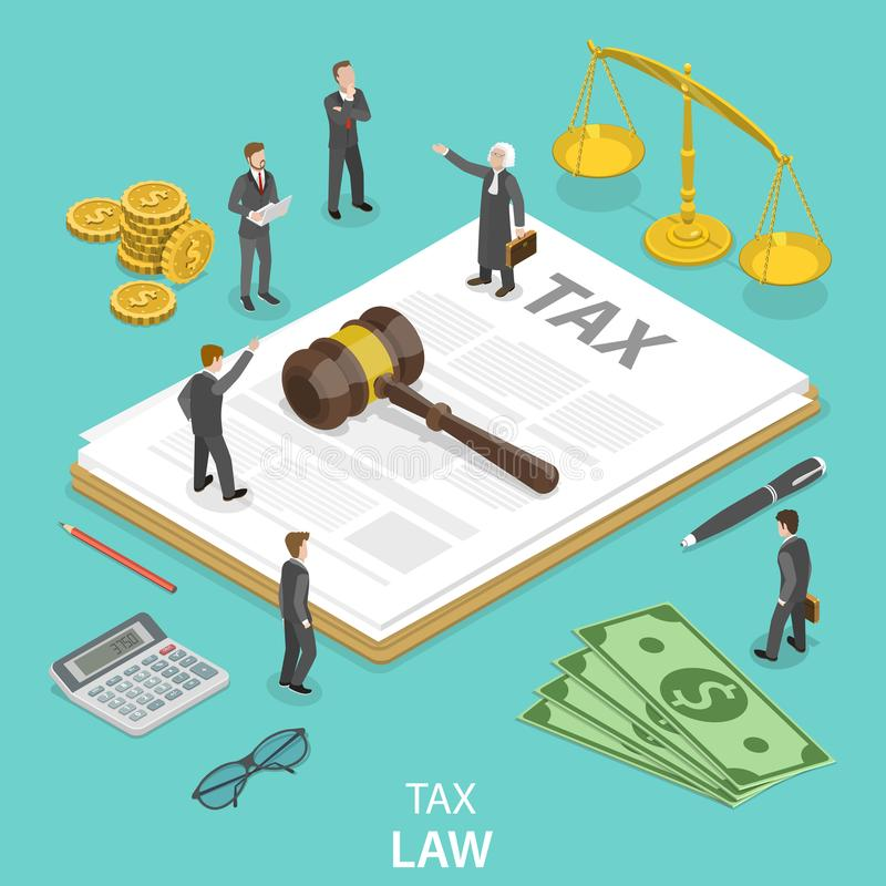 Tax law flat isometric vector concept. People surrounded by the tax and justice attributes are disputing on something vector illustration
