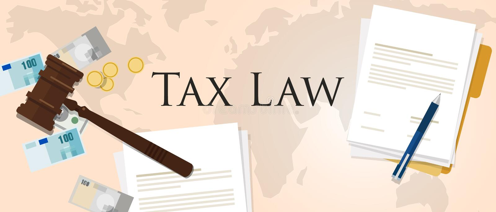 Tax law gavel hammer with money and paper international court of financial dispute. Revenue income financial verdict penalty vector royalty free illustration