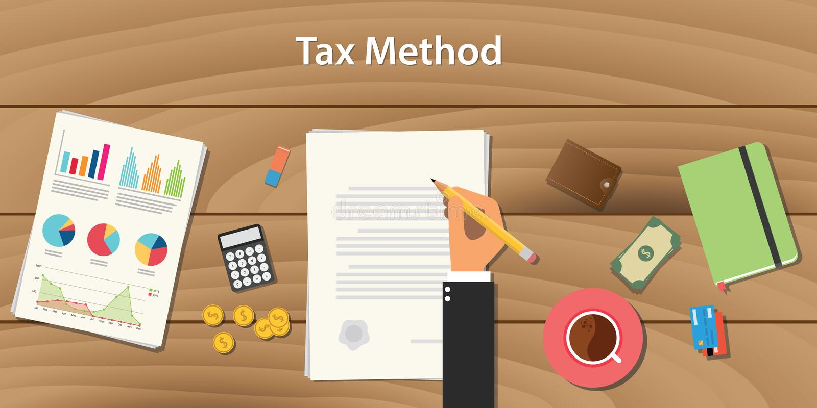 Tax method concept with businessman working on paper document hand signing a graph chart money royalty free illustration